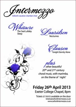Intermezzo concert poster Easter 2013